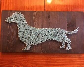 Custom, made to order Weiner dog string art