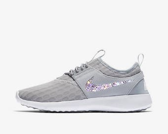 crystal Nike Juvenate Bling Shoes with Swarovski Crystals Women's Running Shoes Wolf Gray
