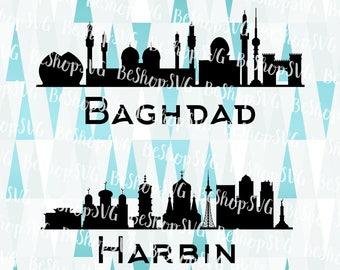 Baghdad SVG, Harbin SVG, Cities SVG, Iraq Svg, China Svg, Instant download, Eps - Dxf - Png - Svg