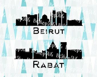 Rabat SVG, Beirut SVG, Cities SVG, Morocco Svg, Lebanon Svg, Instant download, Eps - Dxf - Png - Svg