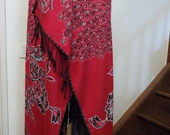 Big shawl silk and cotton print