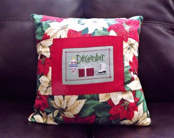 December Poinsettia Pillow