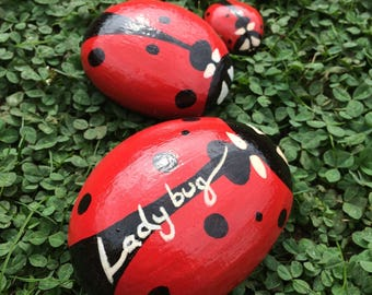 Hand painted ladybug pebbles
