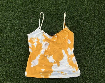 yellow and white acid wash tank top