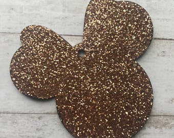 Glittered Minnie Mouse Keychain