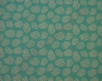 turquoise leaf 100% cotton fabric 44 inch / 110cm floral sketch text turquiose