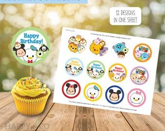 DIGITAL Instant Download Tsum Tsum Cupcake Toppers, Cake Toppers, Tsum Tsum Party Toppers 2 inches