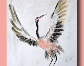 Sketch of a crane spread wings