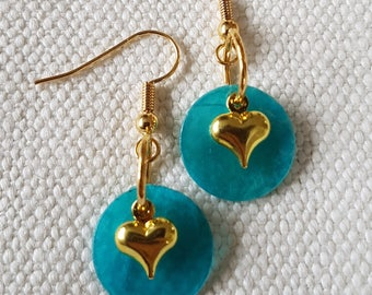 Shell beads earrings with heart charms
