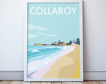 Collaroy Vintage Style Seaside  Travel Print/ Poster