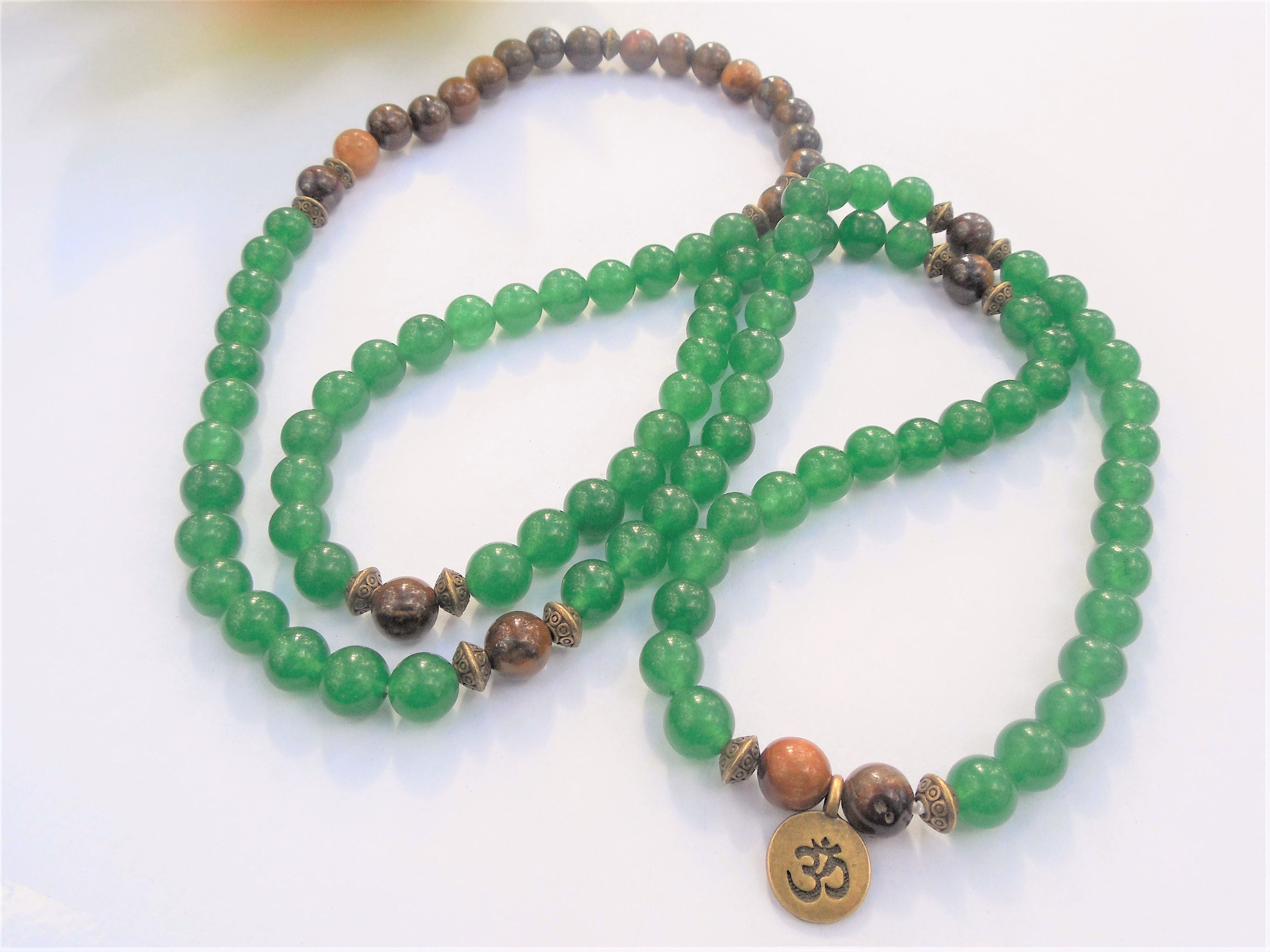stranded set jade beads necklace img black double with green kelly