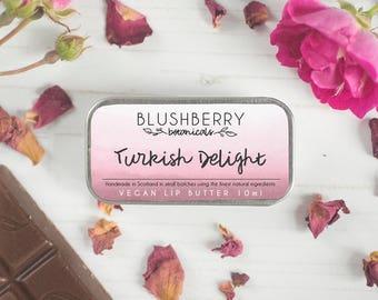 Turkish Delight Vegan Lip Butter - Natural Handmade Organic Lip Balm - Rose and Chocolate Flavour - Cruelty Free