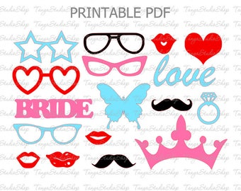 PRINTABLE PDF Photo Booth Props - PDF file - Bridal Shower - Black and Gold - Mustaches, Lips, Glasses