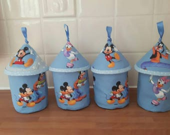 Disney storage pots featuring Mickey Mouse, Pluto, Donald Duck, etc. Lined and useful for pens, cotton buds, buttons ...