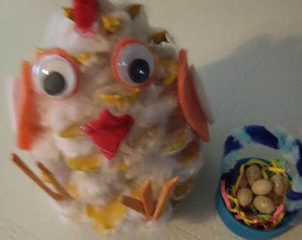 Easter pinecone chick with basket