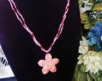 Pink Flower Shell Necklace