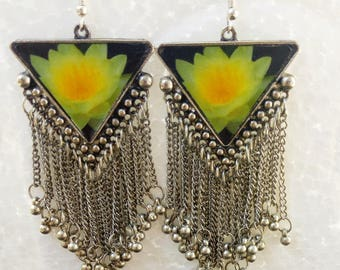 Free Shipping-Geometric Earrings,Ghungarus/Bells Chains,Triangle,Lotus Design,Silver Tone,Green Lotus Danglers/Drop Earrings for Women JW-10