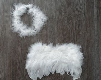 Newborn Photography Prop- Angel wings and halo