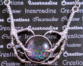 Silver and rainbow handpainted glass bird claws necklace