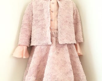 Girls Christmas outfit, clothing sets for girls, lace suit, swarovski ornament, light pink lace dress, birthday dress, girls lace dress