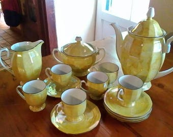 Yellow Lustreware Tea or Coffee Set - vintage Czechoslovakian porcelaine