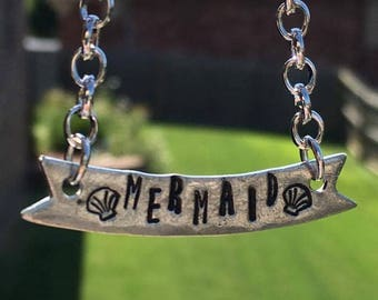 "Hand Stamped Pewter ""Mermaid"" Banner Necklace"
