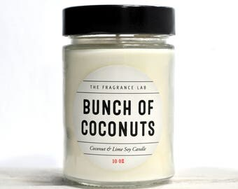 Coconut Soy Candles - Coconut & Lime Scented | Tropical fragrances | Summer scents | Gifts for her | Luxury handmade | Tiki home decor