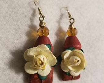 Burgundy Marbled Square Bead and Wooden Bead with Cream Colored Paper Flowers Gold Wire Dangle Drop Earrings- The Bloom Collection