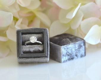 Vintage Velvet Ring Box Grossgrain Ribbon Handmade for Wedding Rings, Engagement Rings, Fine Jewelry