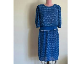 1990s Blue and White Polyester dress