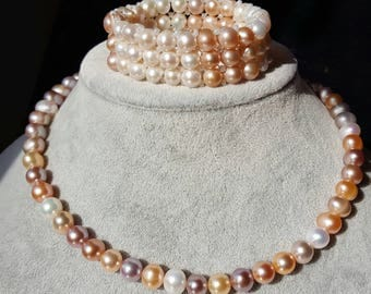Cultured fresh water pearl necklace,approx 8-9 mm, Apricot,white,violet colours