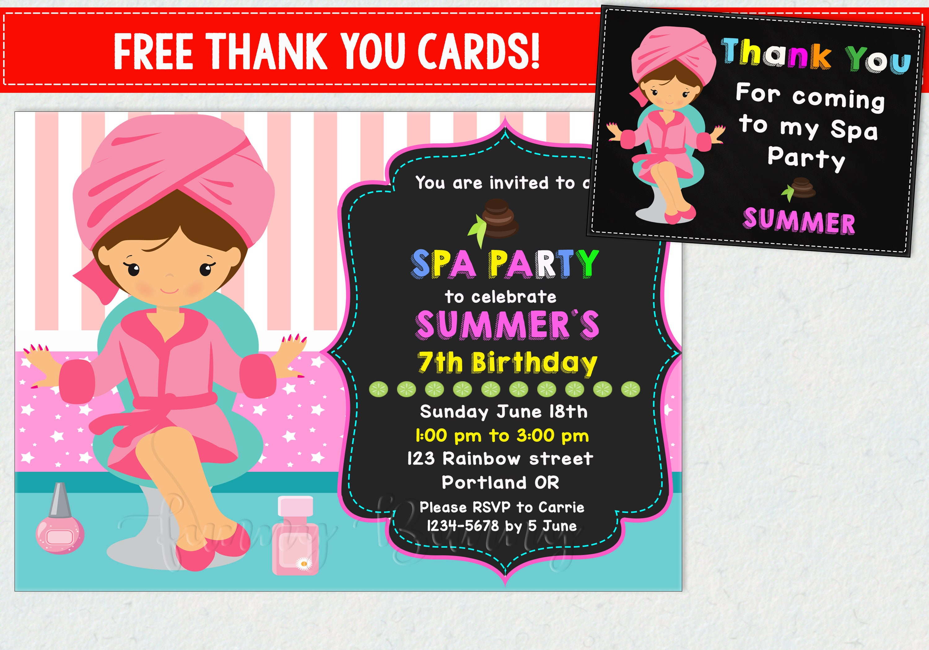 Spa party birthday invitation for girls thank you spa party zoom monicamarmolfo Images