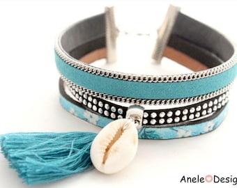 Silver seashell white black blue Pompom liberty trend Cuff Bracelet