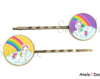 Hair clips x 2 gift Pink Purple yellow Unicorn Rainbow