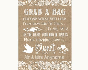 Burlap & Lace Grab A Bag Candy Buffet Cart Sweets Personalised Wedding Sign