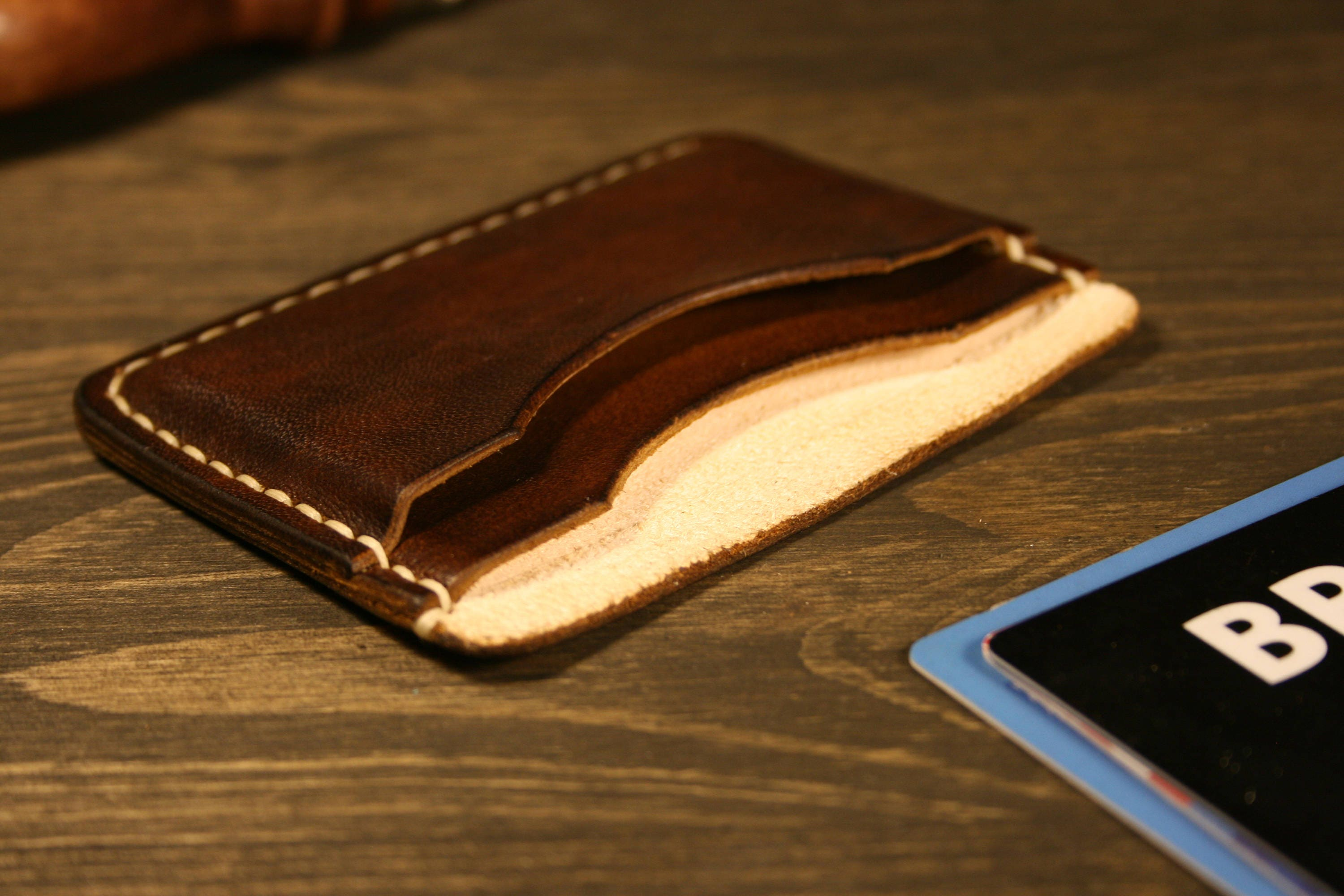 Pocket Slim Wallet, Leather Business Card Holder, Leather Minimalist ...