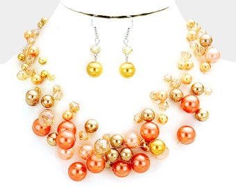 Coral and Golden Multi Strand Pearl Beaded Illusion Necklace