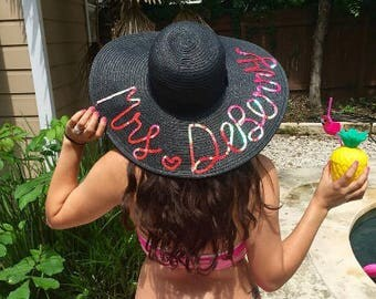 Custom Sequin Floppy Hat - Black/White