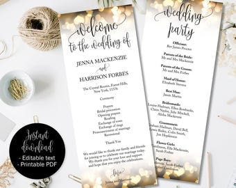 Gold Wedding Day Program Template, Gold Hearts Wedding, Ceremony Order of Service Booklet Program, Church Civil Wedding Program Template