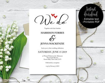 We Do Wedding Invitation Template, Two Red Love Hearts Wedding Invitation Printable, Wedding Download, Invitations Wedding We Do Calligraphy