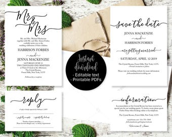 Printable Wedding Invitation Template Set, Save the Date Printable, Invite, RSVP Reply Card, Guest Information, Editable Printable Templates