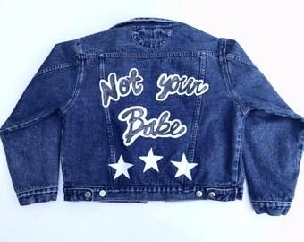 Hand Painted Denim Jacket / Vintage Cropped Jean Jacket / Women's 90's Denim Jacket / Not Your Babe