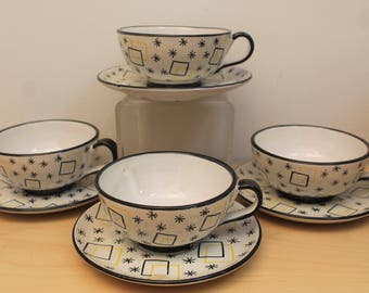 Vintage Mid Century Modern Hand Made Italian Coffee/Tea Cups and Saucers- Set of 4