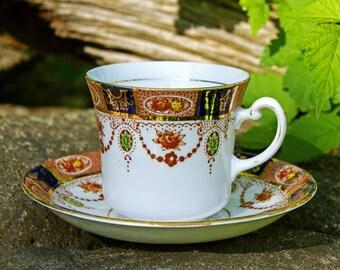 1940s Colclough Imari Teacup and Saucer Set Vintage 6699 Bone China Made in London England