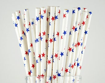 Blue/Red Stars Paper Straws - Party Decor Supply - Cake Pop Sticks - Party Favor