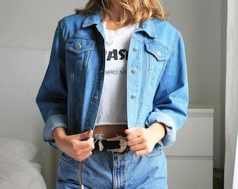 Vintage Jean Jacket Cropped Blue Soft Denim South Western Medium Wash Lightweight Jacket 1990s