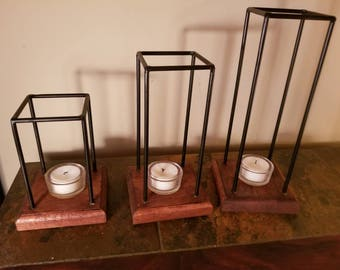 Hand made candle holders metal candle holders wood candle holders