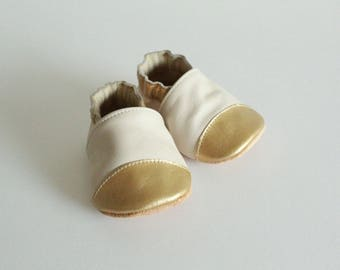 "soft leather - birth gift - Baby Slippers pattern ""Eugénie"" ivory"