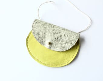 Neck - girl - silver/yellow lemon marbled leather wallet