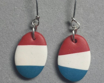 Red White Blue polymer clay earrings sterling silver ear wires
